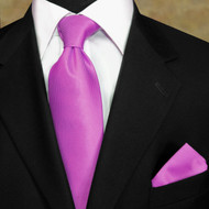 Luciano Ferretti 100% Woven Silk Necktie with Pocket Square - Fuchsia