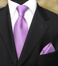 Luciano Ferretti 100% Woven Silk Necktie with Pocket Square - Lavender