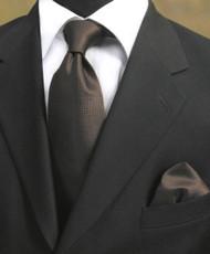 Luciano Ferretti 100% Woven Silk Necktie with Pocket Square - Dark Brown