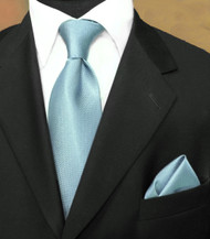 Luciano Ferretti 100% Woven Silk Necktie with Pocket Square - Ice Blue