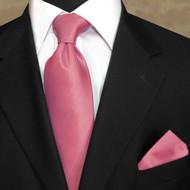 Luciano Ferretti 100% Woven Silk Necktie with Pocket Square - Blush