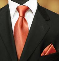 Luciano Ferretti 100% Woven Silk Necktie with Pocket Square - Copper