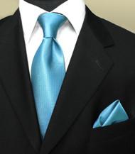 Luciano Ferretti 100% Woven Silk Necktie with Pocket Square - Aqua Blue