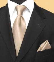 Luciano Ferretti 100% Woven Silk Necktie with Pocket Square - Champagne