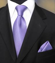 Luciano Ferretti 100% Woven Silk Necktie with Pocket Square - Orchid
