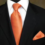 Luciano Ferretti 100% Woven Silk Necktie with Pocket Square - Orange