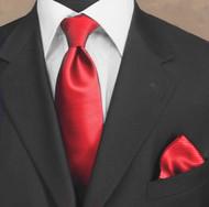 Luciano Ferretti 100% Woven Silk Necktie with Pocket Square - Cherry