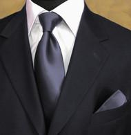 Luciano Ferretti 100% Woven Silk Necktie with Pocket Square - Steel Grey