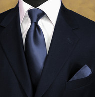 Luciano Ferretti 100% Woven Silk Necktie with Pocket Square - Navy