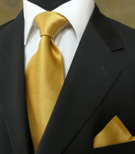 Luciano Ferretti 100% Satin Silk Necktie with Pocket Square - Gold