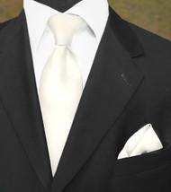 Luciano Ferretti 100% Woven Silk Necktie with Pocket Square - Antique White