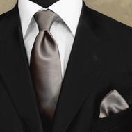 Luciano Ferretti 100% Woven Silk Necktie with Pocket Square - Mocha