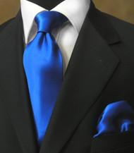 Luciano Ferretti 100% Satin Silk Necktie with Pocket Square - Royal