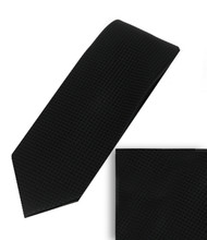 Luciano Ferretti 100% Woven X-Long Silk Necktie with Pocket Square - Black