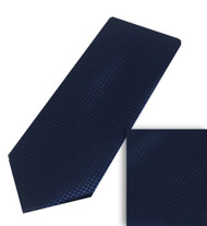 Luciano Ferretti 100% Woven X-Long Silk Necktie with Pocket Square - Navy
