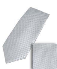 Luciano Ferretti 100% Woven X-Long Silk Necktie with Pocket Square - Silver