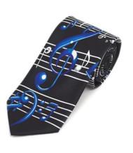 Men's Novelty Necktie - Blue Musical Notes