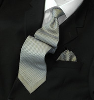 Pantani 100% Silk Woven Tie - Light Olive Design with Border Tip