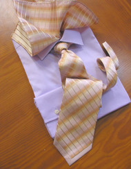 Pantani 100% Silk Woven Tie & Pocket Square - Lilac Stripe & Border Design