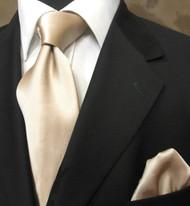 Antonio Ricci 100% Satin Silk Tie - Champagne