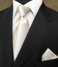 Antonio Ricci 100% Satin Silk Tie - Soft Ivory