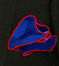 Antonio Ricci 2-in-1 Pouf Pocket Square - Red on Royal Blue