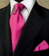 Antonio Ricci 100% Satin Silk Tie - Fuschia