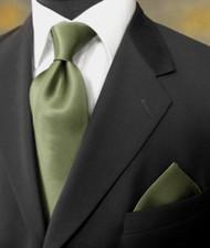 Antonio Ricci 100% Satin Silk Tie - Olive