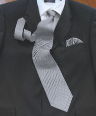 Pantani Double Diagonal Pleated 100% Woven Silk Tie - Grey Weave