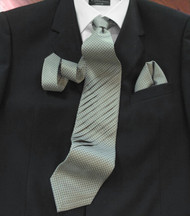 Pantani Front Diagonal Pleated 100% Woven Silk Tie - Olive Weave