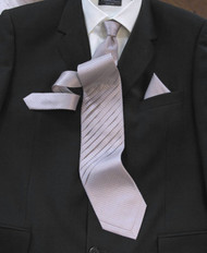 Pantani Front Diagonal Pleated 100% Woven Silk Tie - Lilac Weave