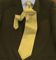 Outlet Center: Pantani Front Diagonal Pleated 100% Woven Silk Tie - Gold