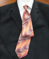 Emilio Romano 100% Silk Italian-made Necktie - Peach Swirl Design