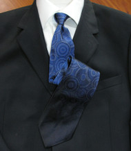 Emilio Romano 100% Silk Italian-made Necktie - Faded Blue Circles