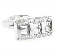 Diamond Baguettes Crystal Cufflinks (V-CF-C40327C-S)