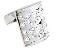 Diamond Faceted Swarovski® Crystal Flower Cufflinks (V-CF-C805C)