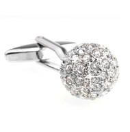 Diamond Swarovski® Crystal Encrusted Small Ball Cufflinks (V-CF-C624C)
