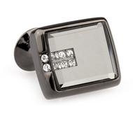 Glass Encased Swarovski® Crystal Tungsten Cufflinks (V-CF-C65273-T)