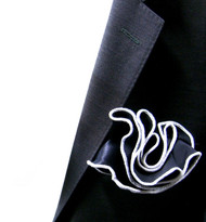 Antonio Ricci 100% Silk 2-in-1 Pouf Pocket Square - White on Navy