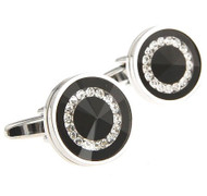 Glass Encased Swarovski® Crystals on Black Cufflinks (V-CF-C64431B-S)