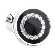 Glass Encased Swarovski® Crystals on Black Cufflinks (V-CF-C609B-S)