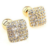 Gold with Diamond Swarovski® Crystals Cufflinks (V-CF-C604C-G)