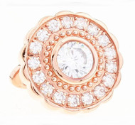 Large Round Crystal Swarovski® Crystal Rose Gold Cufflinks (V-CF-C1400C-RG)