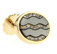 Oval Mirror Glass Diamond Gold Cufflinks (V-CF-C51014GY-G)