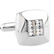 Petite 4-Diamond Crystal Square Cufflinks (V-CF-C40320C)