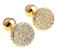 Round Diamond Swarovski® Crystals in Gold Cufflinks (V-CF-V00200G-C)