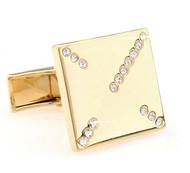 Simple Square Diamond Swarovski® Crystals in Gold Cufflinks (V-CF-C532C-G)