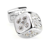 Small Silver Dice with Diamond Swarovski® Crystals Cufflinks (V-CF-C508C)