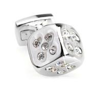 Small Silver Dice with Diamond Swarovski® Crystals Cufflinks (V-CF-C508C)
