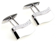 Stainless Steel Swivel Swarovski® Crystal Cufflinks (V-CF-C800C)